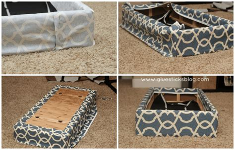 how to reupholster an ottoman how to reupholster a storage ottoman gluesticks