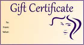 hair salon gift certificate template free gift template select a gift certificate template to