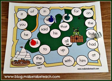 printable sight word board games teaching sight words make take teach