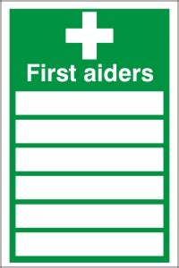 first aiders list sign health amp safety sign fa 19