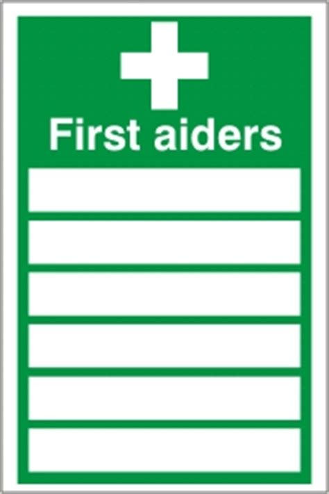 first aiders list sign health safety sign fa 19
