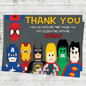 lego superheroes thank you cards birthday by dcastudio