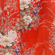 Japanese Silk Kimono Floral Print Short Red
