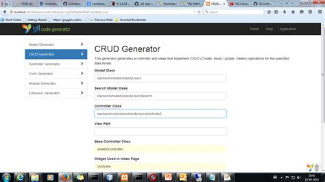 yii2 tutorial youtube php crud generated controllers and its actions are not