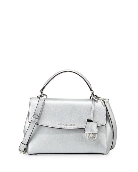 Silver Jacquard Doctor Bag From Circle by Michael Michael Kors Small Metallic Leather Satchel