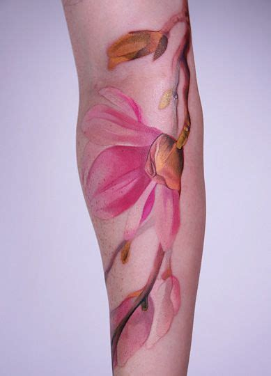 watercolor tattoo no outline amanda wachob flower no black lines water color