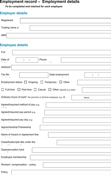 employee record form template employee record templates for excel pdf and word