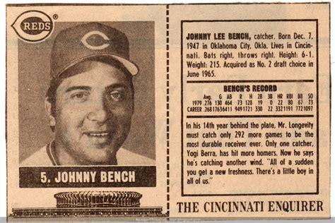 johnny bench number number 5 type collection 1980 cincinnati enquirer