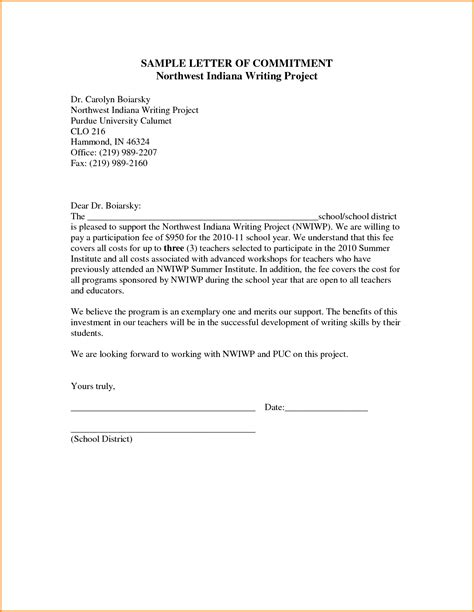 Commitment Letter To Organization 10 Letter Of Commitment Mac Resume Template