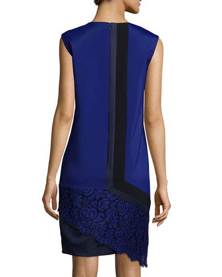 2 Tone Asymetric Dress by J Mendel Two Tone Asymmetric Shift Dress Imperial Blue