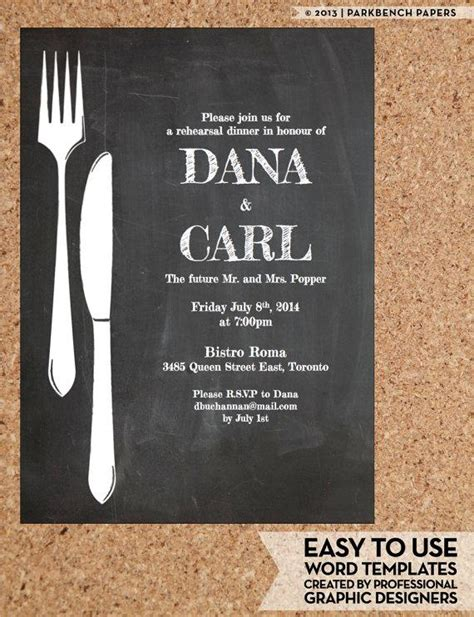 free dinner invitation templates for word rehearsal dinner invitation chalkboard chic diy word