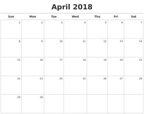Calendar 2018 January To April January 2018 Monthly Calendar Template