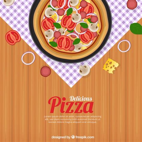 free table pizza table background with delicious pizza vector free