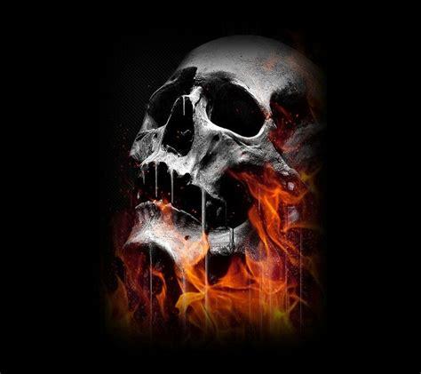 Realistic Fire Skull Wallpaper