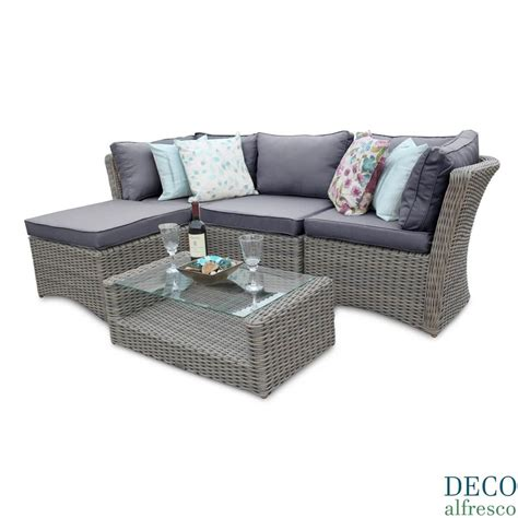 Rattan Furniture 5pc high back modular corner rattan garden furniture