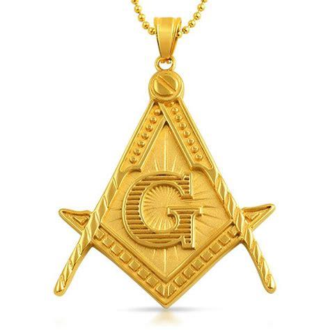 masonic pendant free large detailed gold steel