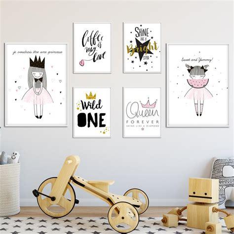 children posters cute cartoon girl wall art canvas prints