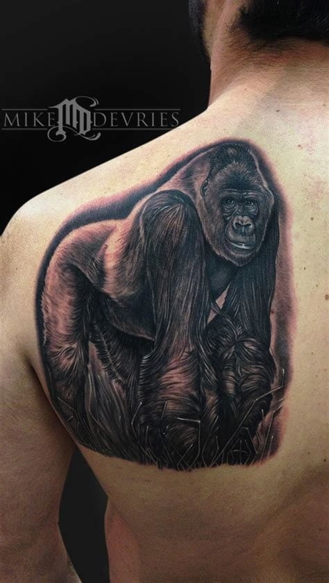 silverback gorilla by mike devries tattoos