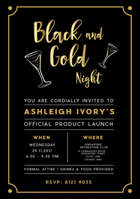 product launch invitation card template black and gold ashleigh ivory product launch peatix