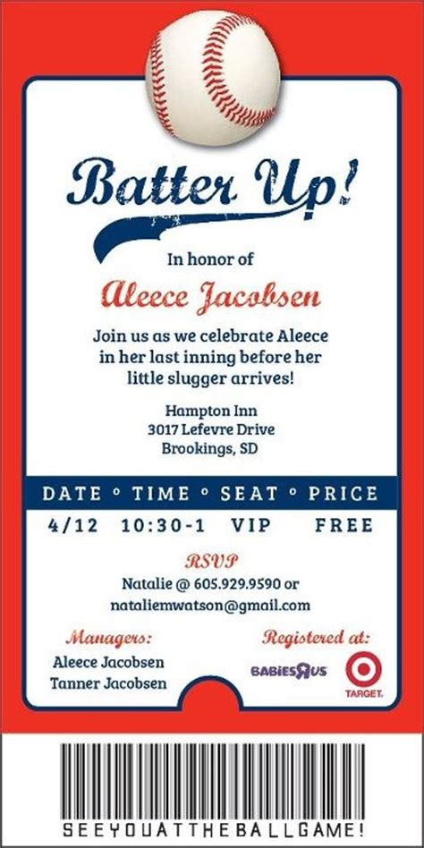 Baseball Ticket Invitation Template Free Orderecigsjuice Info Baby Shower Ticket Invitation Template