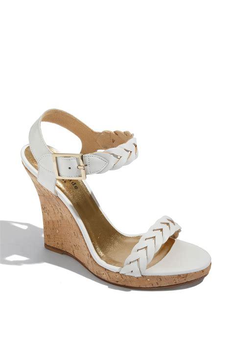 kate spade vivienne wedge sandal in white white grain