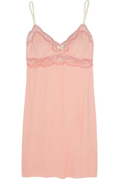 designer shop eberjey at net a porter net eberjey millie lace trimmed jersey chemise net a