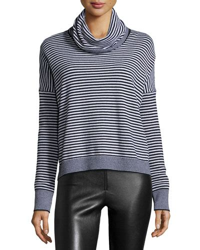 Caitlin White Blouse Funnel Sleve sleeve knit funnel neck top black white
