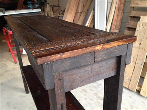diy rustic sofa table diy rustic stained pallet sofa table and entry table