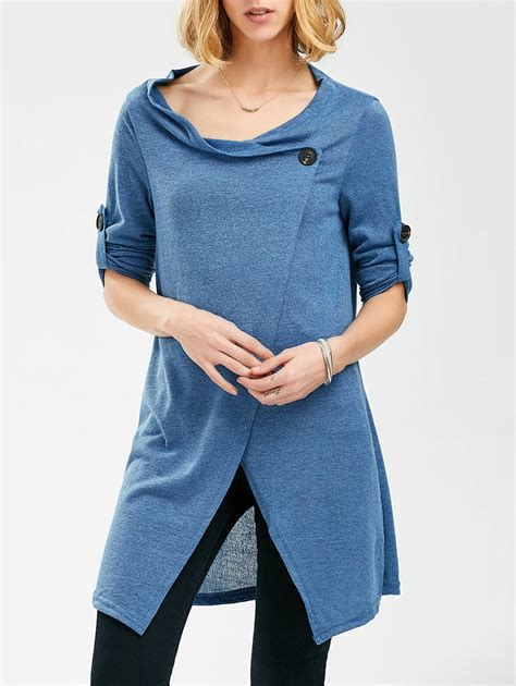 Button Sleeve Pullover sleeves button pullover sweater in blue one size