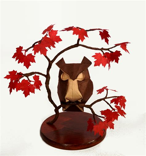 Origami Maple Seed - origami owl in a maple tree by haardod on deviantart
