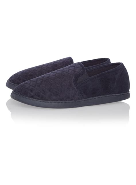sainsburys slippers mens navy quilted closed back slippers tu clothing
