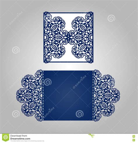 floral paper cut out card template laser cut wedding invitation template stock illustration