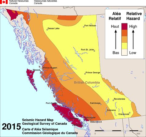 map of canada bc simplified seismic hazard map for canada the provinces