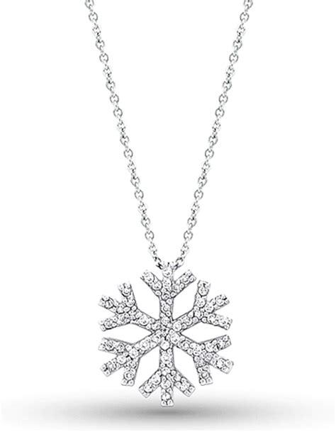 14k white gold snowflake necklace kc n2094