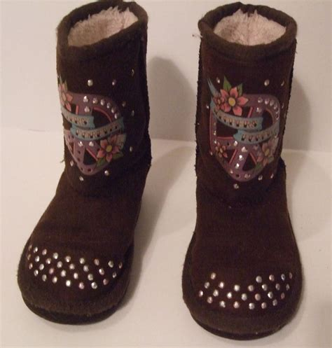 skecher boots for skechers boots size 7 peace signs pink brown bling