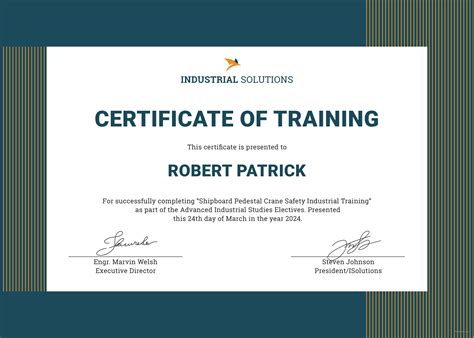 Free Industrial Training Certificate Template In Adobe Photoshop Microsoft Word Microsoft Trainer Certificate Template