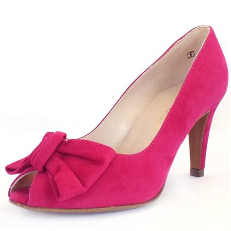 pink shoes kaiser samos peep toe court shoes in pink suede