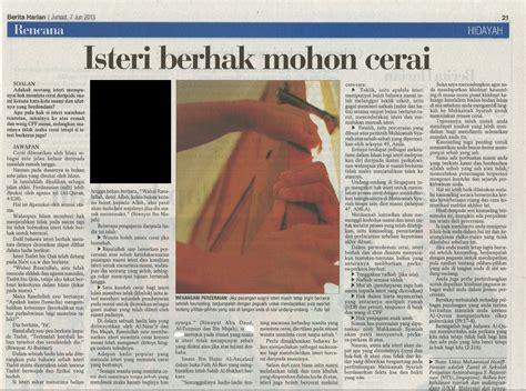 berita harian singapura kemusykilan agama hak isteri meminta cerai berita