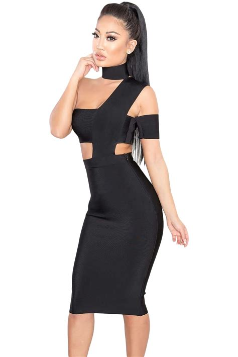 Black Sexy Choker Neck Cut out   Charming Wear