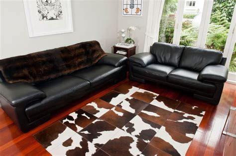 cowhide patchwork rug chocolate brown and white