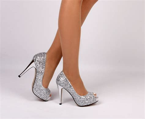 womens small size low cost high heels sparkle silver and black