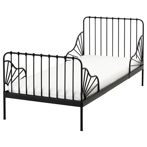Minnen Ext Bed Frame With Slatted Bed Base Black 80x200 Cm Black Ikea Bed Frame