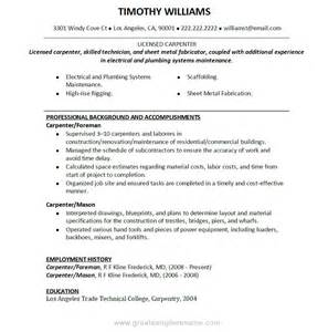 Carpentry Resume Template by Carpenter Resume Objective Sle Resume Format