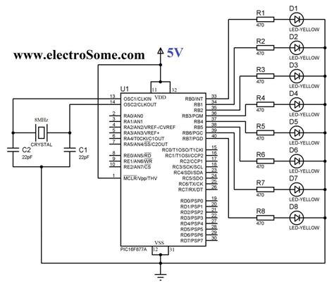 blinking light circuit diagram blinking led using pic microcontroller hi tech c