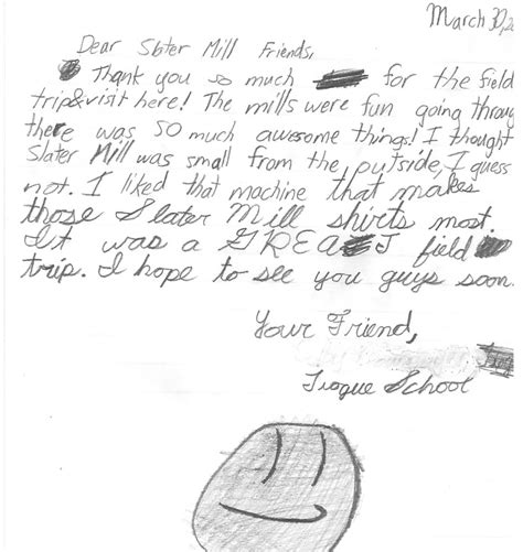 thank you letter after elementary school thank you note from an elementary school student after his