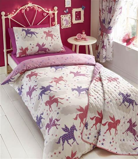 unicorn bedding unicorn single duvet cover bed set girls pink purple