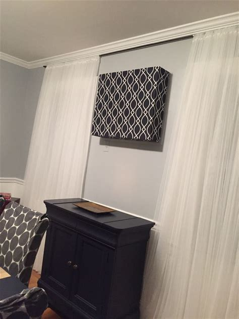 ac curtains diy ac cover made with foam board glue and a curtain panel ac cover diy and