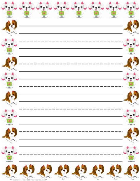 Dog Writing Paper Dogs And Puppy Free Printable Stationery For Kids Primary