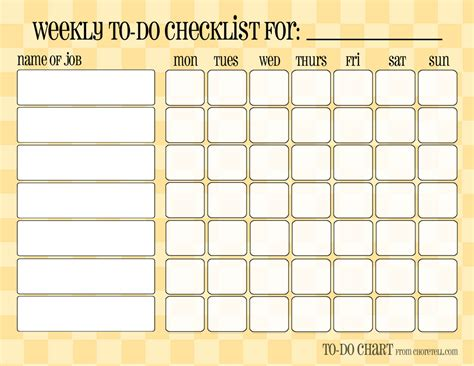 free printable chore chart templates for 7 best images of free blank printable chore charts