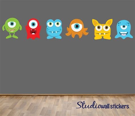 reusable wall stickers reusable monsters wall decal childrens by studiowallstickers